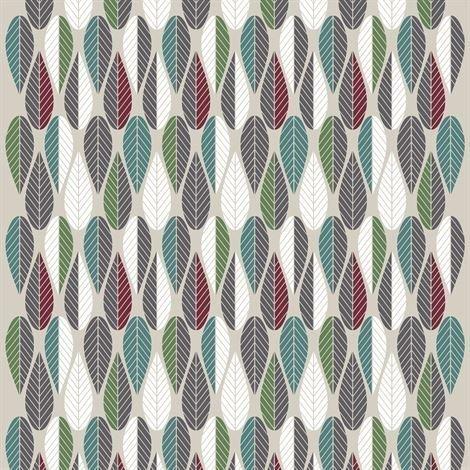 Arvidssons Textil Blader Kangas Viininpunainen-Vihreä-Harmaa