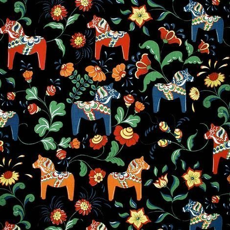 Arvidssons Textil Dalahäst Kangas Musta