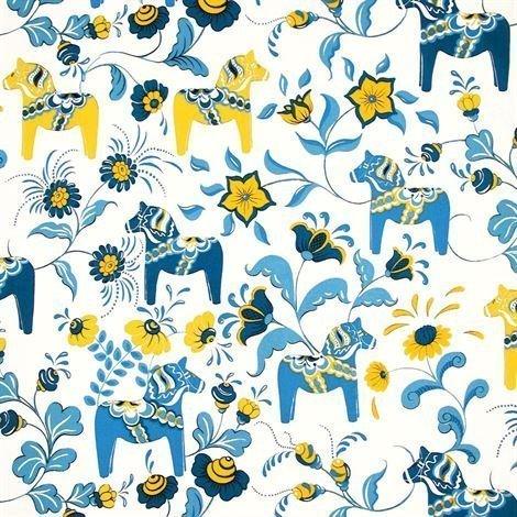 Arvidssons Textil Dalahäst Kangas Sininen-Keltainen