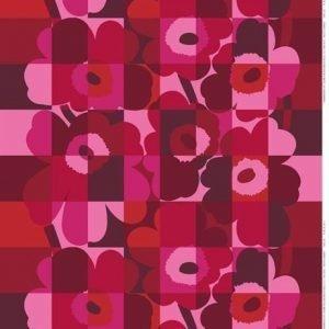 Marimekko Ruutu-Unikko Vahakangas Punainen-Vaaleanpunainen